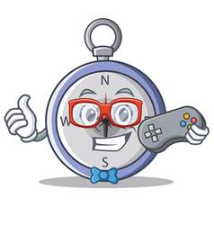 Gamer compass character cartoon style vector