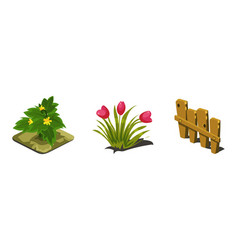 garden flowers and fence game user interface vector image