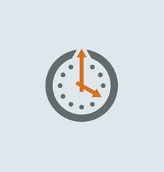 Gray-orange Clock Round Icon vector image