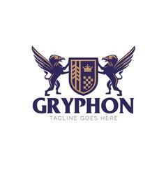 gryphon crest logo emblem style vector image