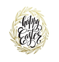 Hand drawn easter greeting card Golden branch and vector image
