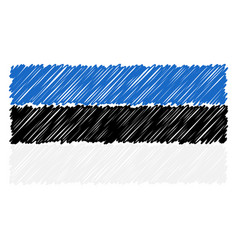 hand drawn national flag of estonia isolated on a vector image