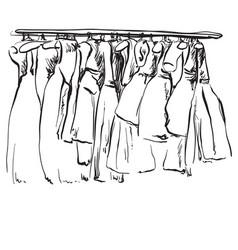 Hand drawn wardrobe sketch clothes vector