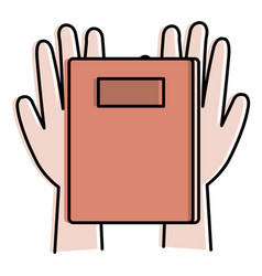 Hands with notebook icon vector