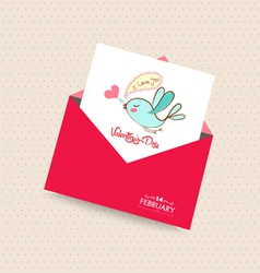 Happy valentines day card with envelope bird 3 vector