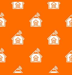 home pattern orange vector image