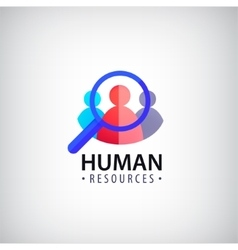 Human resources people search hr logo vector