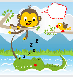 Humor animals cartoon in jungle vector