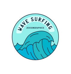 icon round shaped sticker with sea wave vector image