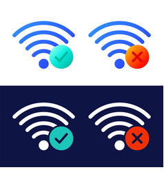 icon set wireless wifi symbols with check mark vector image