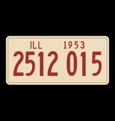 Illinois 1953 license plate vector