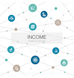Income trendy web template with simple icons vector