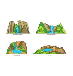 Indonesia natural landmarks or landscapes in line vector