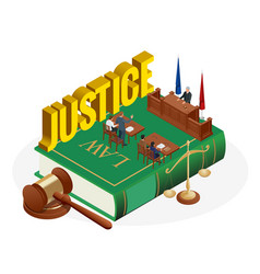 Isometric law and justice concept law theme vector