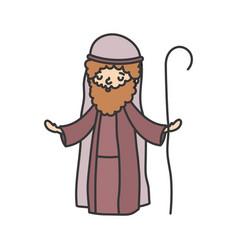 Joseph character manger nativity merry christmas vector
