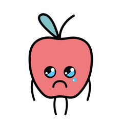 Kawaii cute crying apple fruit vector