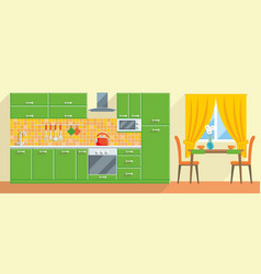 kitchen modern interior and furniture vector image