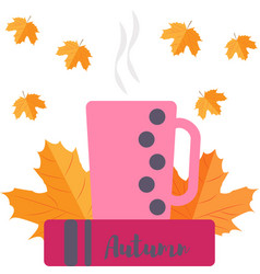 leaves a cup and a book vector image