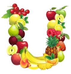 Letter U composed of different fruits with leaves vector