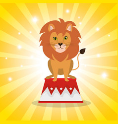 Lion circus show icons vector