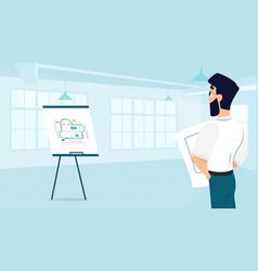 male architect examining room design plan vector image