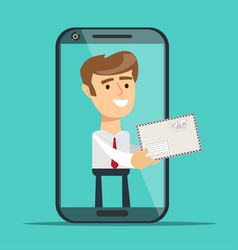 man from smartphone screen giving new message vector image