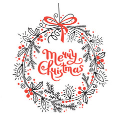 merry christmas card festive wreath fir vector image