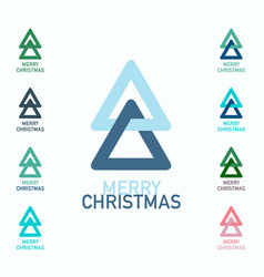 merry christmas symbols set xmas trees logo icons vector image