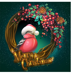 Merry christmas wreath of vines ash berry and vector