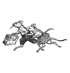 Mice running vintage vector