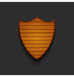 modern wooden shield on gray background vector image
