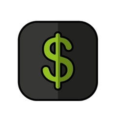 Money symbol in button isolated icon vector