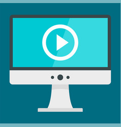 monitor video play icon flat style vector image