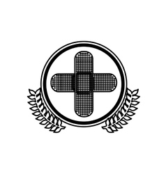 Monochrome circle with olive branchs and band aid vector