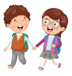 Of school children vector