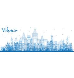 Outline valencia skyline with blue buildings vector