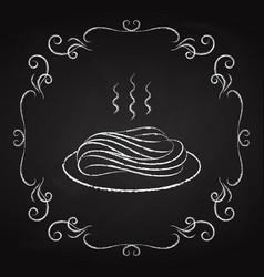 pasta icon drawn chalk on a blackboard vector image