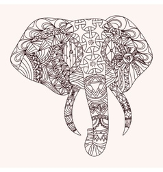 Patterned elephant zentangle style vector