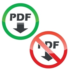 PDF download permission signs set vector