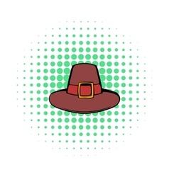 Pilgrim hat icon comics style vector