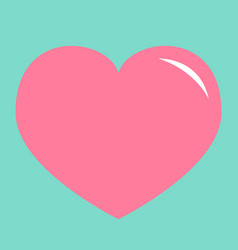 pink heart shining icon happy valentines day sign vector image
