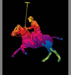 Polo horse players action sport cartoon graphic vector