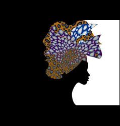 Portrait african woman shenbolen ankara headwrap vector