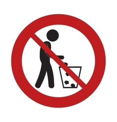 Prohibited man throwing trash can sign road vector