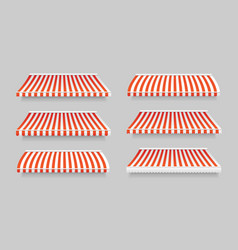 realistic 3d detailed striped awning set vector image