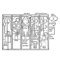 Rear elevation of switchboard vintage vector