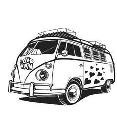 Retro car Peace love travel Van vector image