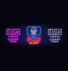 Scam alert neon sign alert design vector