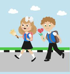 Schoolboy and schoolgirl with satchels girl vector