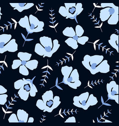 seamless pattern with beautiful small blue flowers vector image